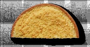 Korengoud Kruimelvlaai met gele room half